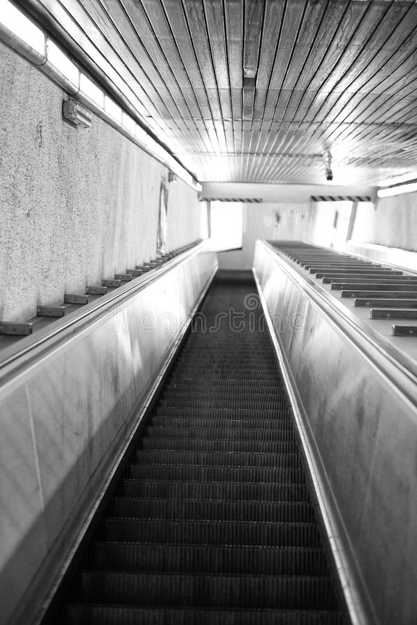 Washington DC Metro escalator in black and white. Washington DC Metro escalator with no people stock photos