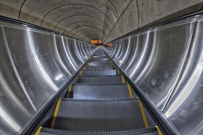Washington DC Metro escalator. Longest one stock image