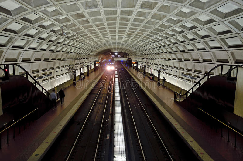 Washington DC Metro station. Inside the Smithsonian station of the Washington DC metro subway royalty free stock image