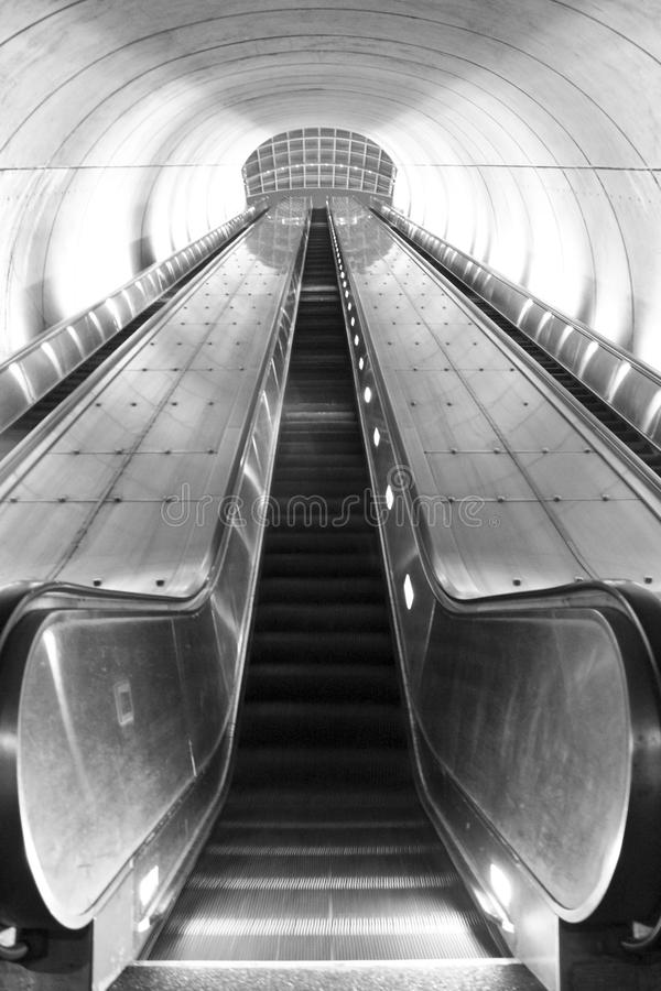 Washington, DC Metro Station Escalator. Black and white photo of an empty escalator at a metro station in Washington, DC royalty free stock photo