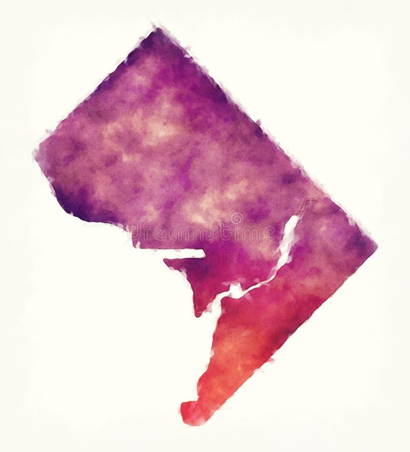 Washington DC miasta akwareli mapa przed białym tłem ilustracji
