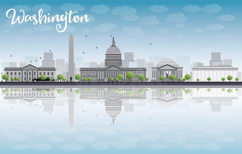 Washington DC miasta linia horyzontu z chmurą i niebieskim niebem ilustracja wektor