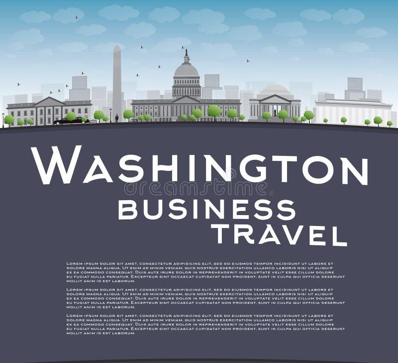 Washington DC miasta linia horyzontu z kopii przestrzenią ilustracja wektor