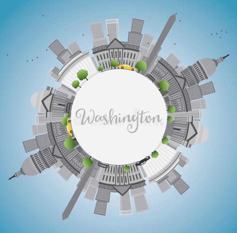 Washington DC miasta linia horyzontu z Szarymi punktami zwrotnymi i kopii przestrzenią ilustracji