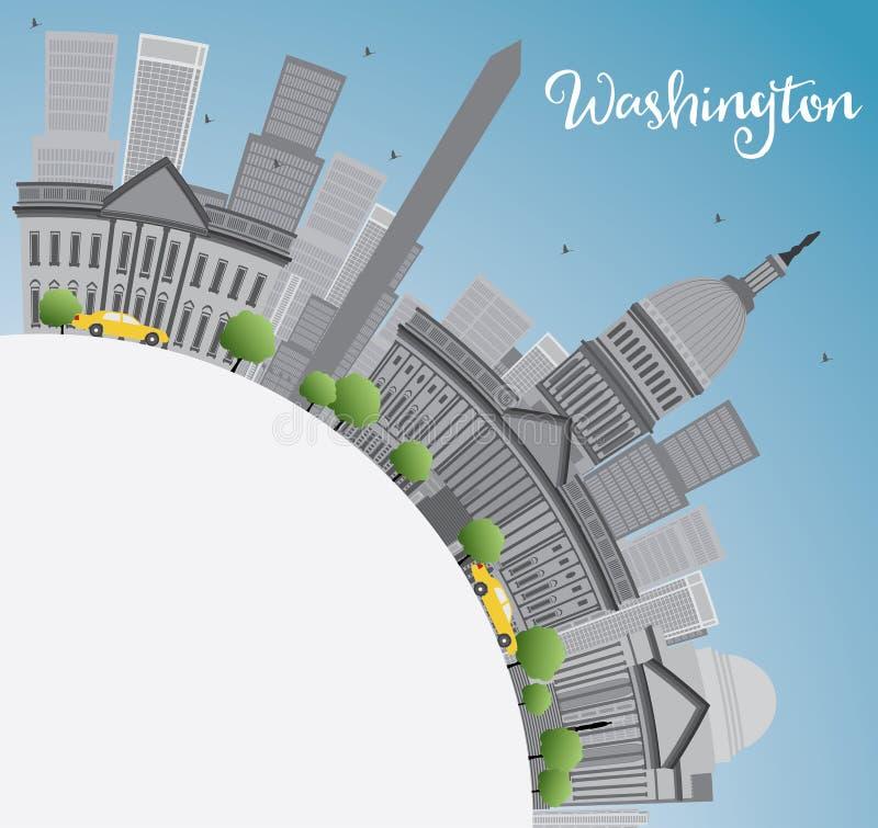Washington DC miasta linia horyzontu z Szarymi punktami zwrotnymi i kopii przestrzenią royalty ilustracja