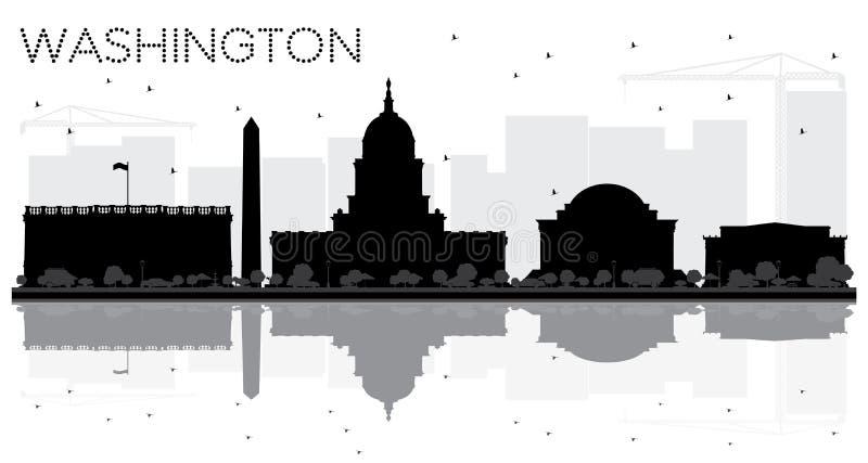 Washington DC miasta linii horyzontu czarny i biały sylwetka z Refle ilustracja wektor