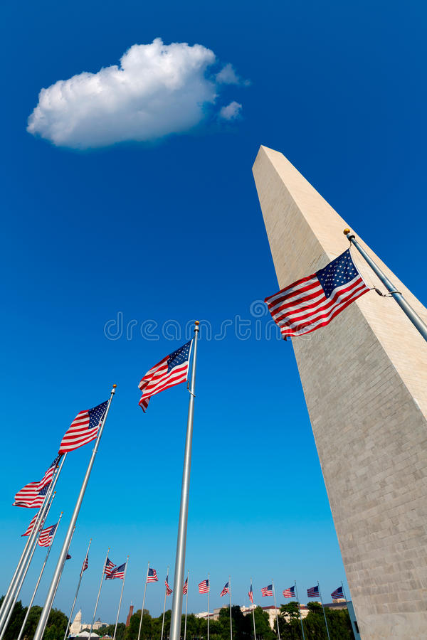 Washington DC Monument and american flags US royalty free stock image