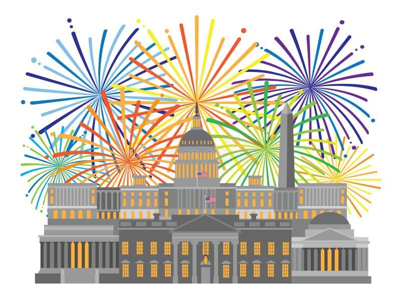 Washington DC Monuments Landmarks and Fireworks vector Illustration vector illustration