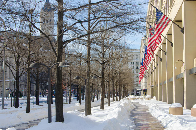 Washington DC na sneeuwonweer, Januari 2016 royalty-vrije stock foto