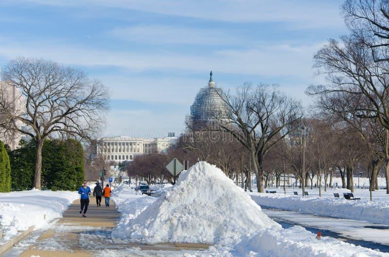 Washington DC nach Schneesturm, im Januar 2016 lizenzfreies stockbild