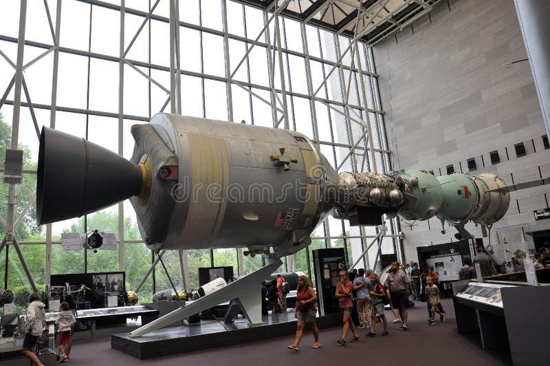Washington DC, o 5 de agosto: Nave espacial de Apollo-Soyuz no ar nacional de Smithonian e museu de espaço do Washington DC nos E fotografia de stock royalty free