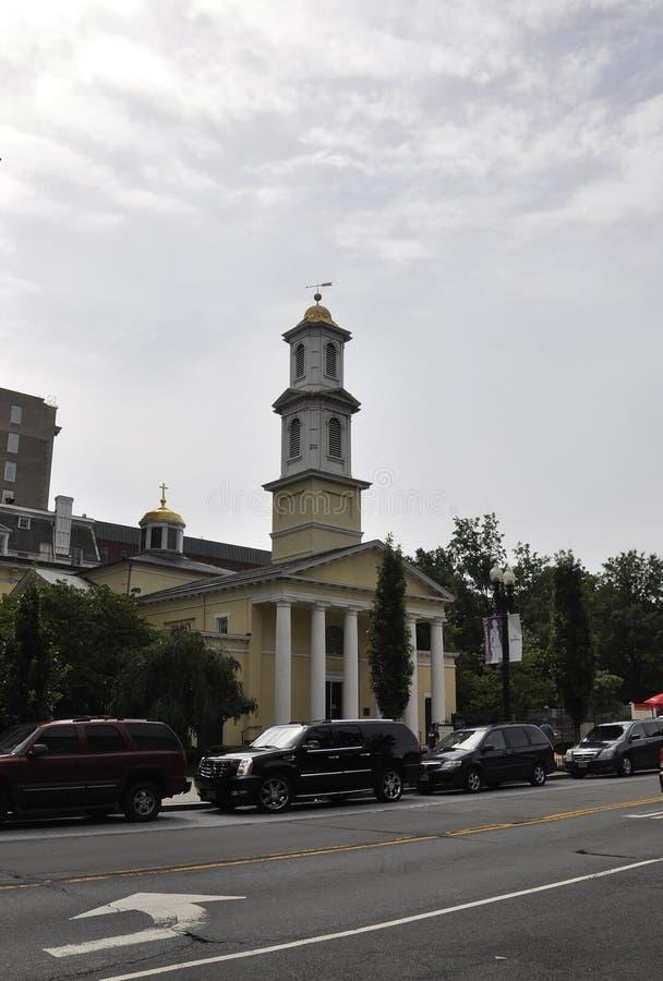 Washington DC, o 4 de julho de 2017: St John Episcopal Church da baixa de Washington District de Colômbia EUA fotografia de stock royalty free