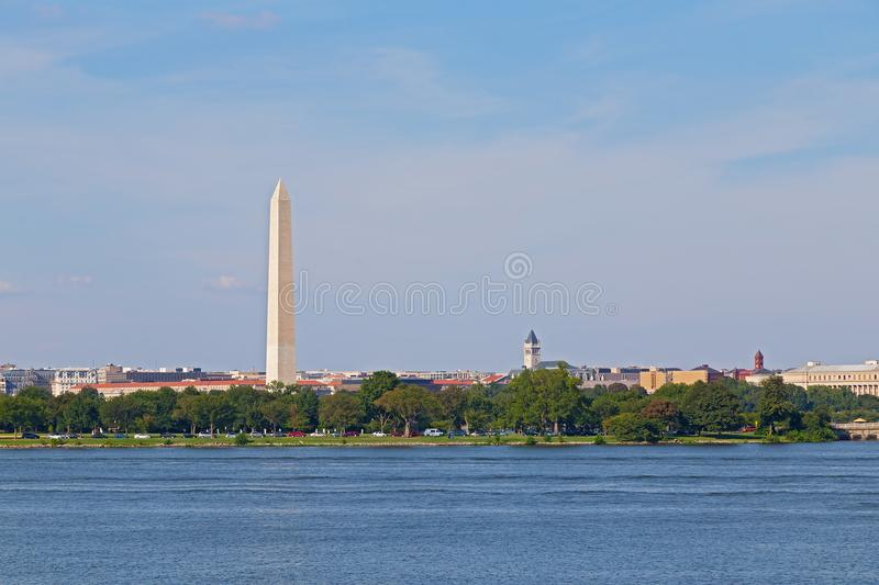 Washington DC panorama near Potomac River, USA. US capital with Washington Monument and other landmarks on a summer morning stock photography