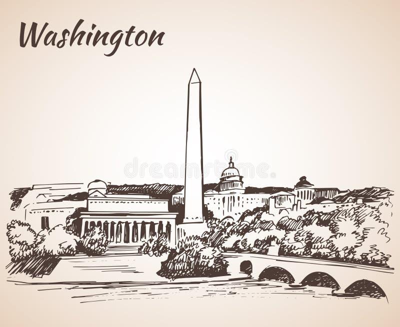 Washington DC pejzaż miejski - nakreślenie royalty ilustracja