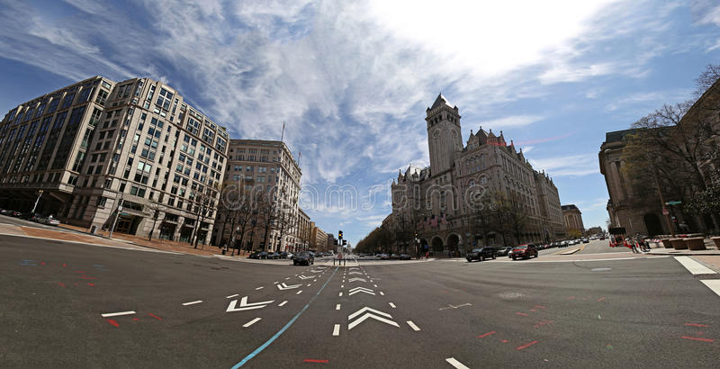 Washington DC Pennsylvania Avn. With view to Old Post Office and Capitol stock photo
