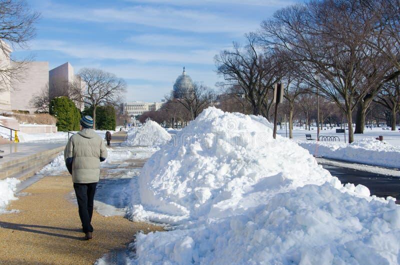 Washington DC po śnieżnej burzy, Styczeń 2016 zdjęcie royalty free