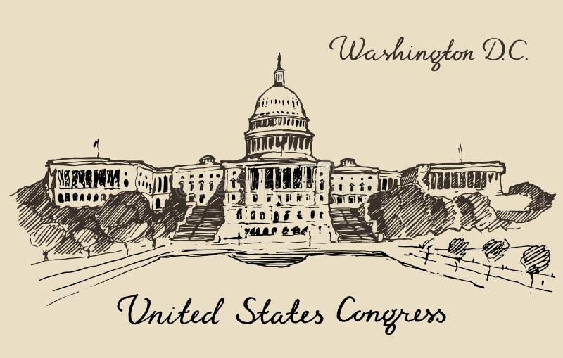 Washington DC principal do Capitólio do monte do Estados Unidos ilustração do vetor