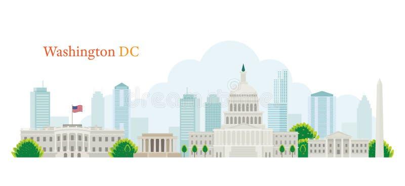 Washington DC, punkty zwrotni, linia horyzontu i drapacz chmur, ilustracja wektor