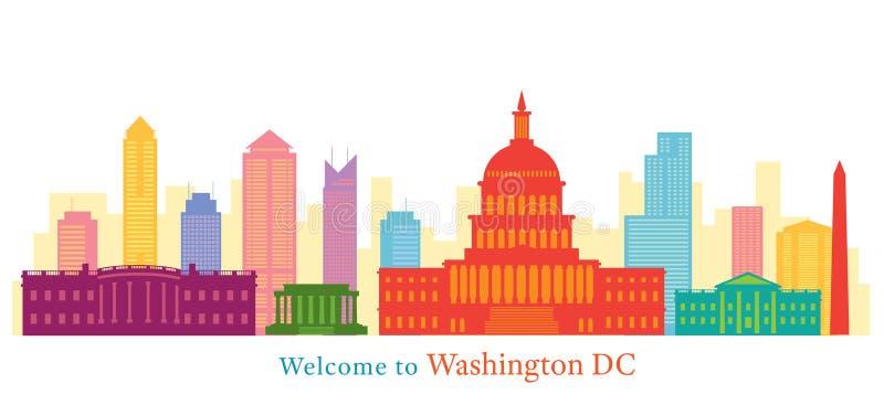 Washington DC, punkty zwrotni, linia horyzontu i drapacz chmur, ilustracji