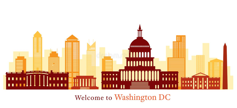 Washington DC, punkty zwrotni, linia horyzontu i drapacz chmur, royalty ilustracja