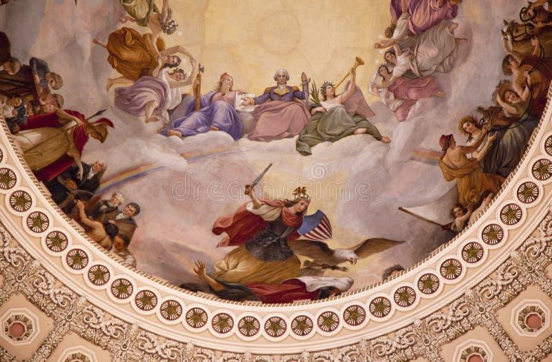 Washington DC rotunda d'Apothesis de dôme de capitol des USA photo stock