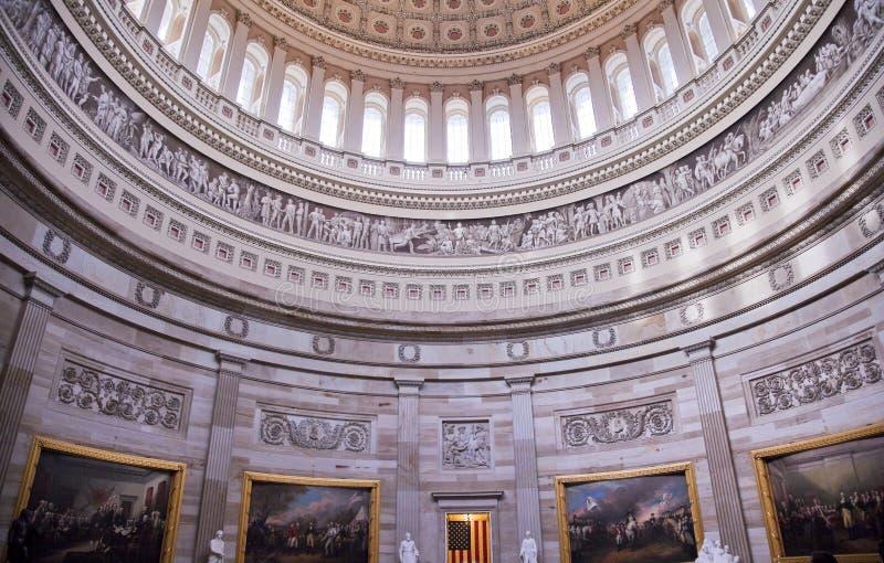 Washington DC Rotunda das pinturas da abóbada do Capitólio dos E.U. imagem de stock