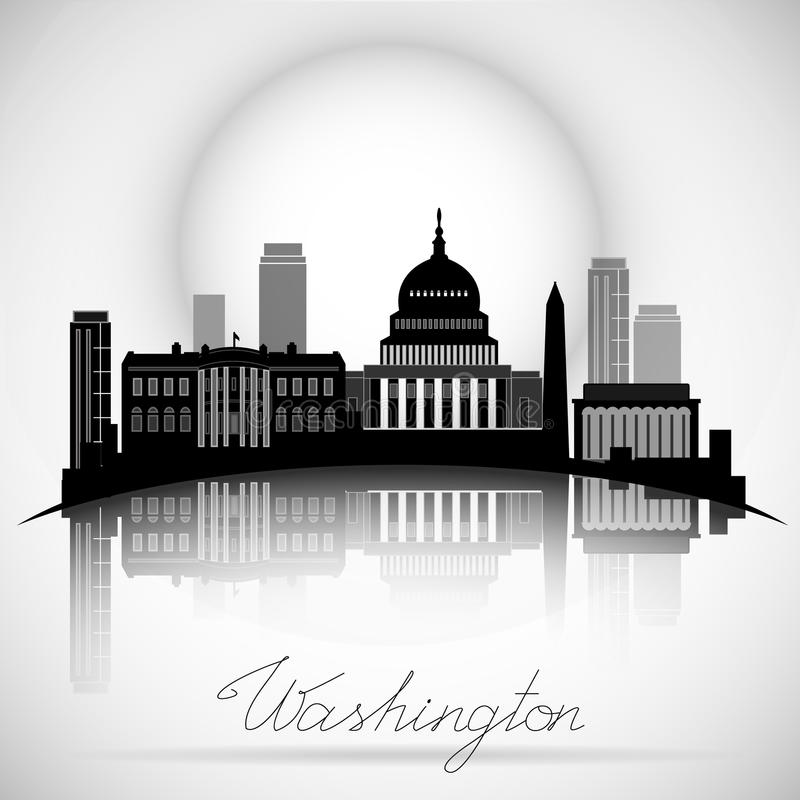 Washington dc skyline design vector silhouette stock vector illustration of city sunset for Who designed the basic plan for washington dc