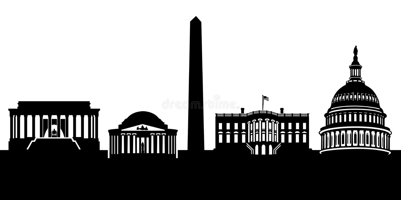 Washington DC skyline. Graphic illustration of the Washington DC National Mall skyline