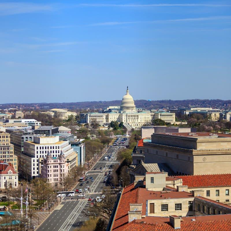 Washington DC, Skyline mit Kapitolgebäude und anderes Bundesb stockfotografie