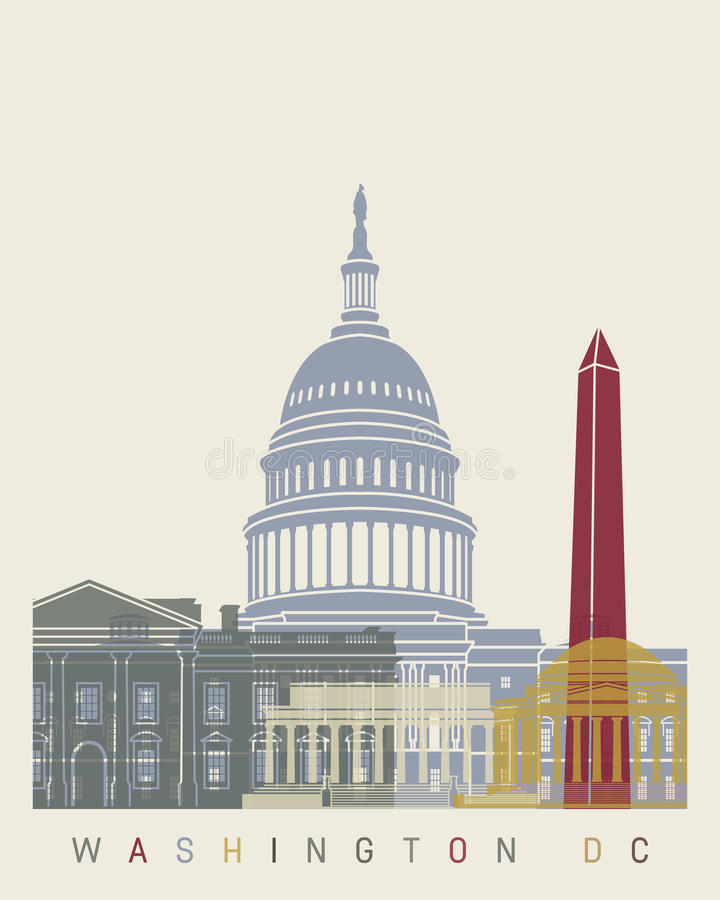 Washington DC skyline poster stock illustration