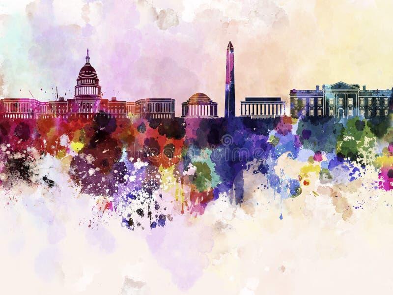Washington DC skyline in watercolor background stock illustration