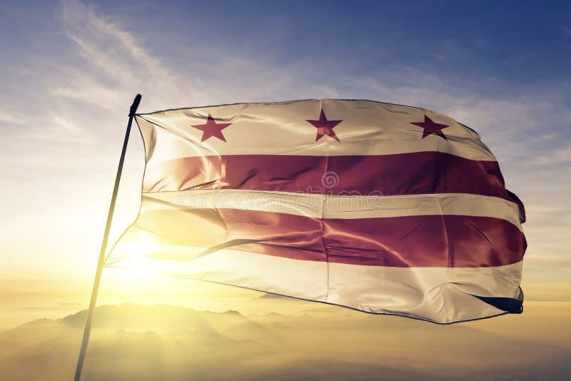 Washington DC stan Stany Zjednoczone Ameryka flaga tkaniny tekstylny sukienny falowanie na wierzchołku royalty ilustracja