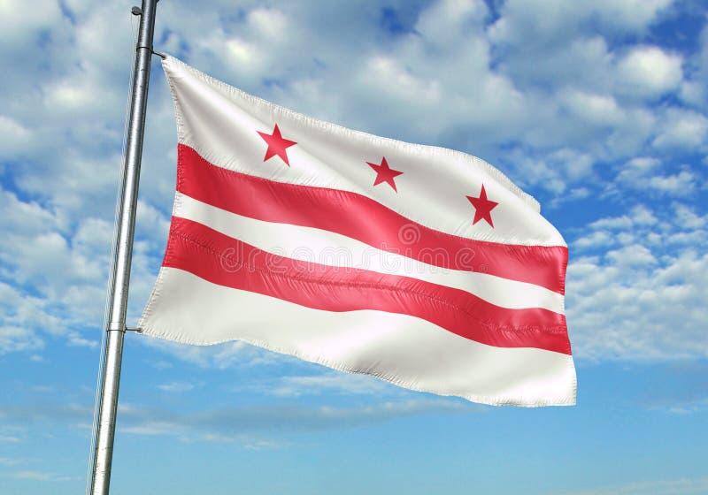 Washington DC stan Stany Zjednoczone flagi falowanie z niebem na tło realistycznej 3d ilustracji ilustracji