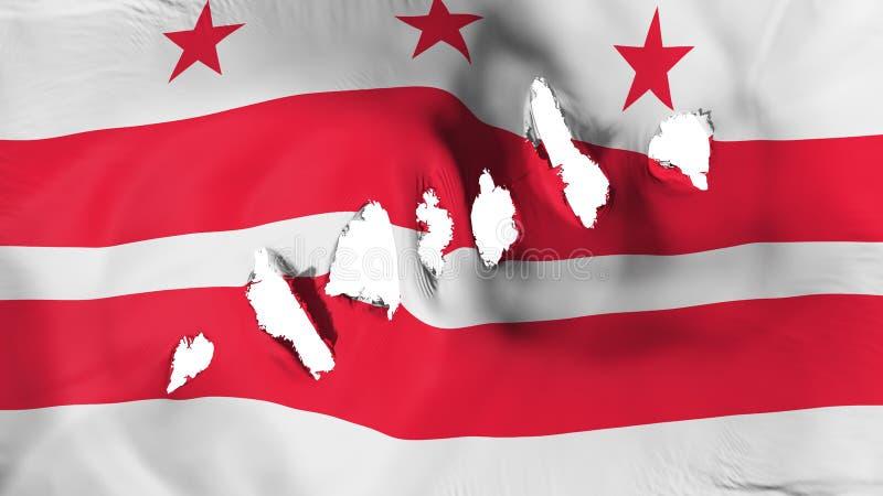 Washington DC stanu flaga dziurkująca, dziura po kuli ilustracja wektor