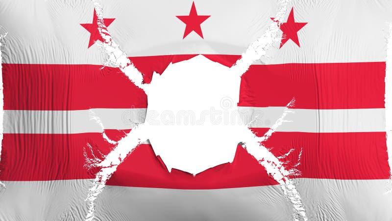 Washington DC stanu flaga z dziurą ilustracji