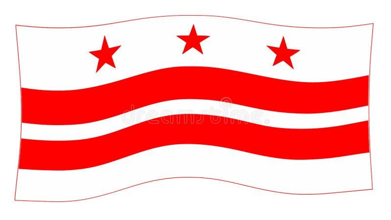 Washington DC stanu flagi falowanie W wiatrze ilustracji