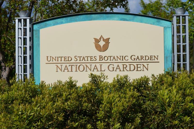 Washington DC - tecken för sikten av byggnaden för trädgård för Förenta staternabotanisk trädgård som den nationella lokaliseras  royaltyfria foton