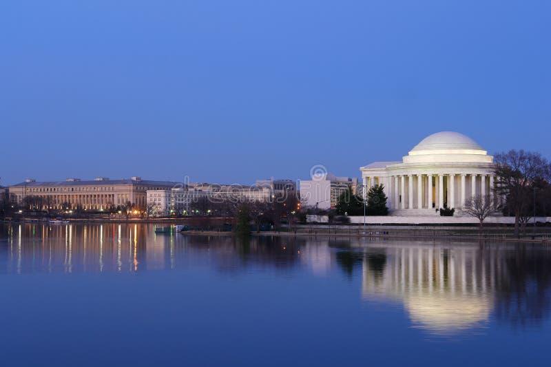 Washington DC - Thomas Jefferson minnesmärke på natten royaltyfri foto