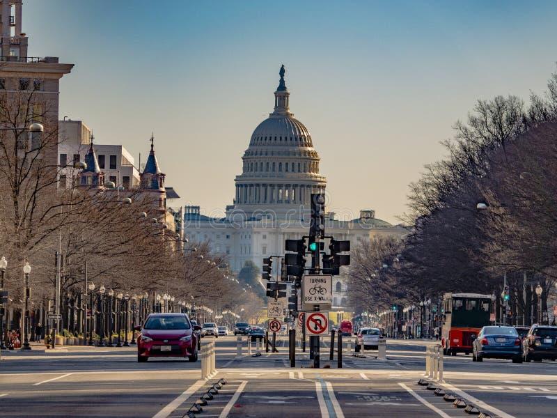 Washington DC, U.S.A., il 24 dicembre 2018 Il viale del Campidoglio e della Pensilvania degli Stati Uniti fotografia stock