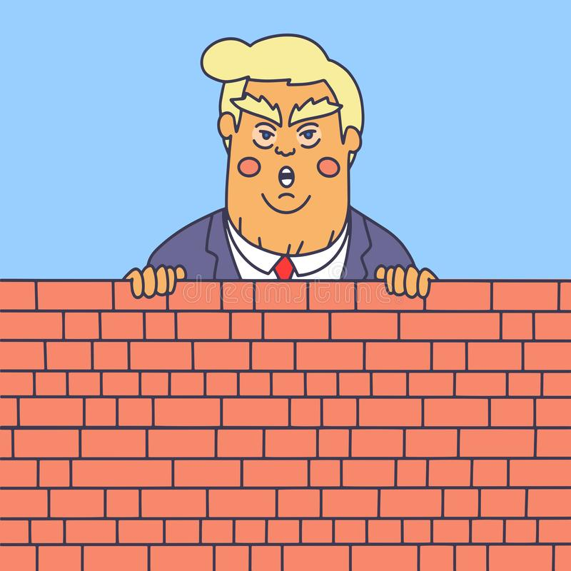 WASHINGTON DC, US - FEBRUARY 2019: President Donald Trump Wall Build vector illustration