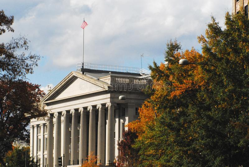 Washington DC- The US Treasury Building in the Fall royalty free stock photo