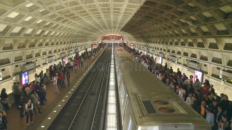WASHINGTON, DC, USA -April, 3, 2017: a train at gallery place metro station in washington dc. WASHINGTON, DC, USA -April, 3, 2017: high angle shot of a train at royalty free stock image