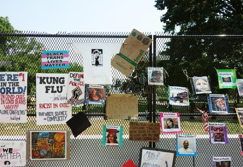 WASHINGTON DC/USA - 7-6-2020: Black Live Matter protest signs on a fence outside Lafayette Square Park with the White House in the royalty free stock images