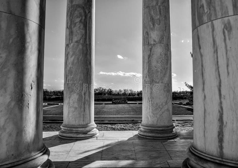 Washington DC, USA. Columns of Thomas Jefferson Memorial, close-up in black and white. royalty free stock image