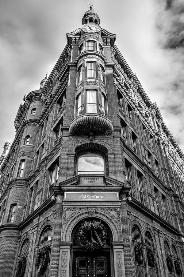 Washington DC, USA. Historic SunTrust building with the clock tower. Black and white version of the shot. royalty free stock images