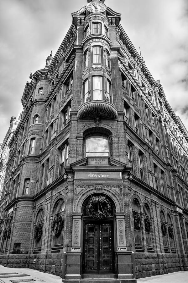 Washington DC, USA. Historic SunTrust building with the clock tower. Black and white version of the shot. stock image