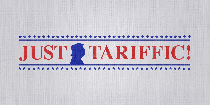 WASHINGTON DC, USA, 4 July 2018 - Illustration for US President pleased with trade wars and US raising of international tariffs. Illustration idea of President