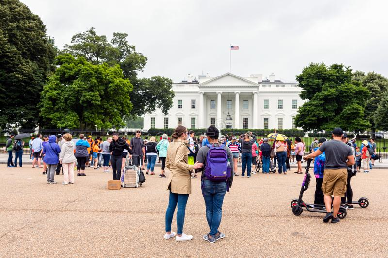 Washington DC, USA - June 9, 2019: The east side of the White House  with a busy Lafayette Square in the foreground stock photos