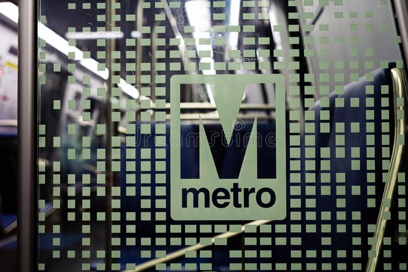 Washington DC, USA - June 9, 2019: Washington Metropolitan Area Transit Authority WMATA metro logo on new 7000 series train -. Washington DC, USA - June 9, 2019 stock images