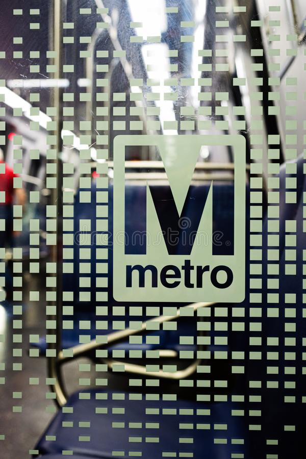 Washington DC, USA - June 9, 2019: Washington Metropolitan Area Transit Authority WMATA metro logo on new 7000 series train -. Washington DC, USA - June 9, 2019 royalty free stock photography